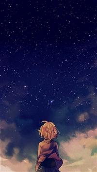 Starry Space Illust Anime Girl iPhone 5s wallpaper