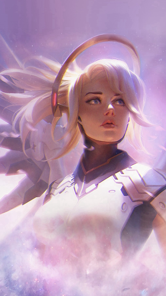 Mercy Overwatch Game Art Illustration iPhone wallpaper