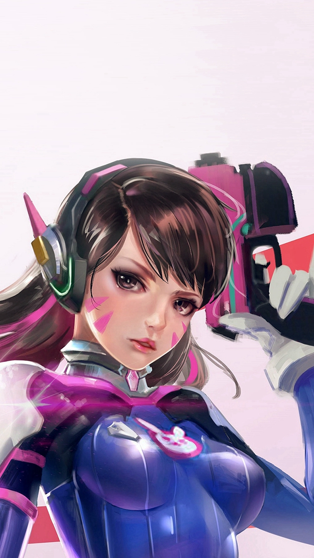 Overwatch Diva Cute Game Art Illustration iPhone wallpaper
