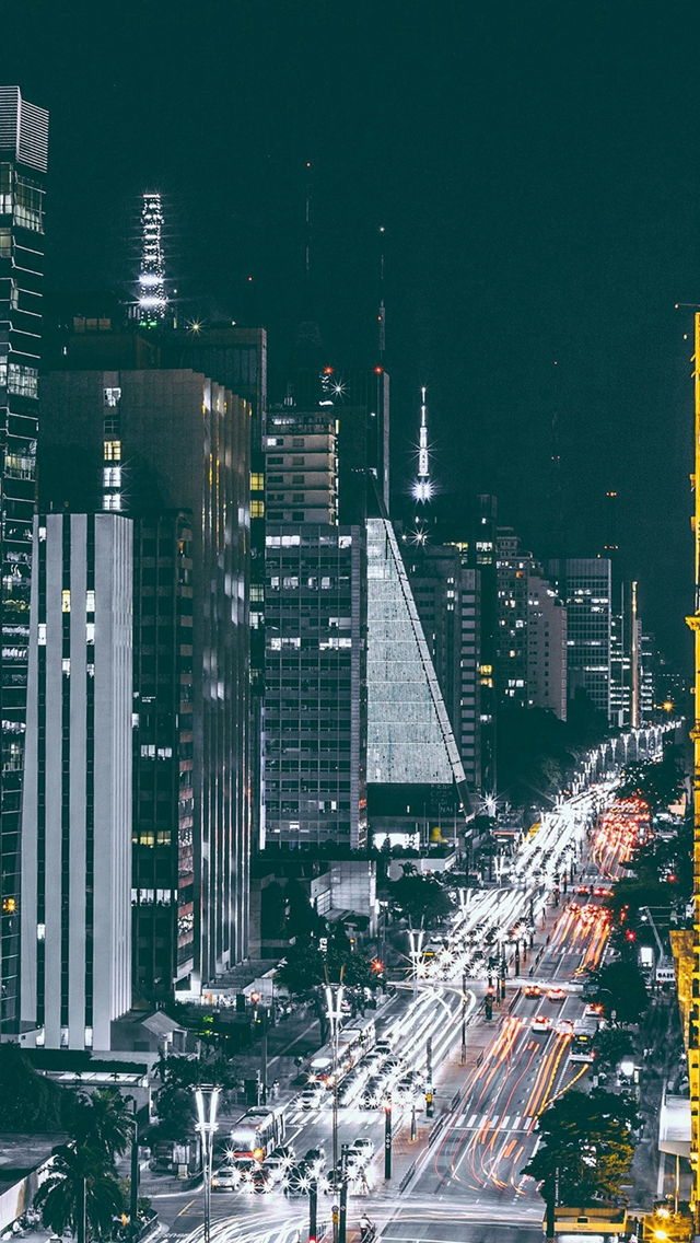 City Night View Urban Street iPhone wallpaper