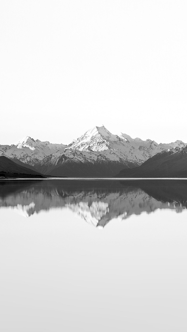 Reflection Lake Blue Mountain Water River Bw White iPhone wallpaper