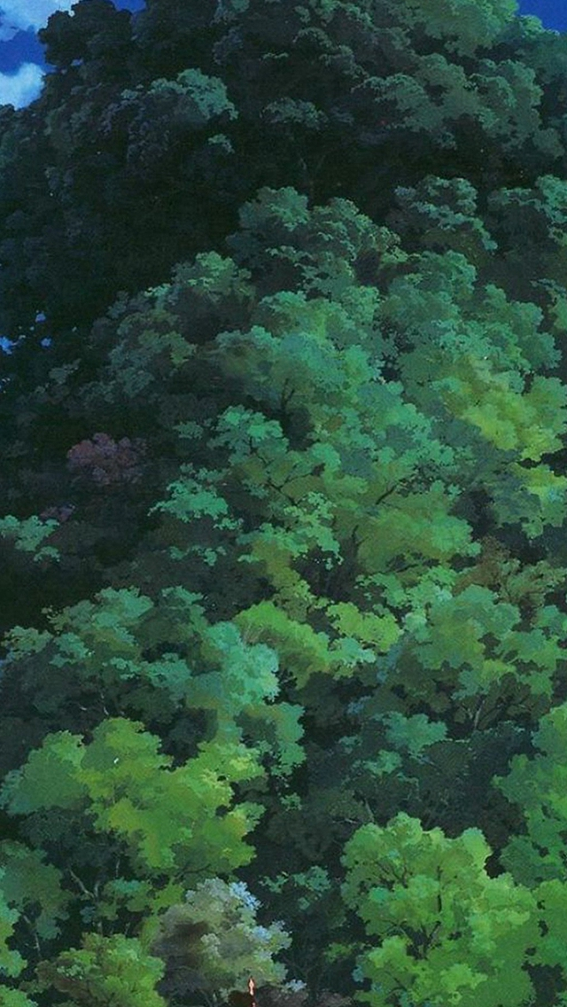 Studio Ghibli Tree Green Art Illustration Love Anime iPhone wallpaper