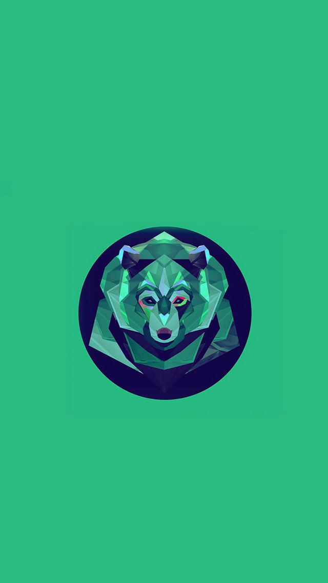 Bear Polygon Art Animal Green iPhone wallpaper