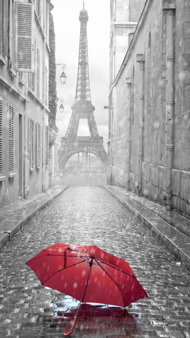 Red Umbrella Paris Street Rainy Day Eiffel Tower iPhone wallpaper