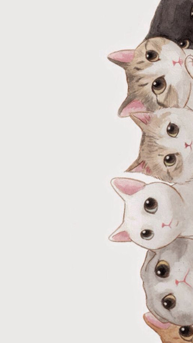 Cute Cats Vertical Aligned Illustration iPhone wallpaper