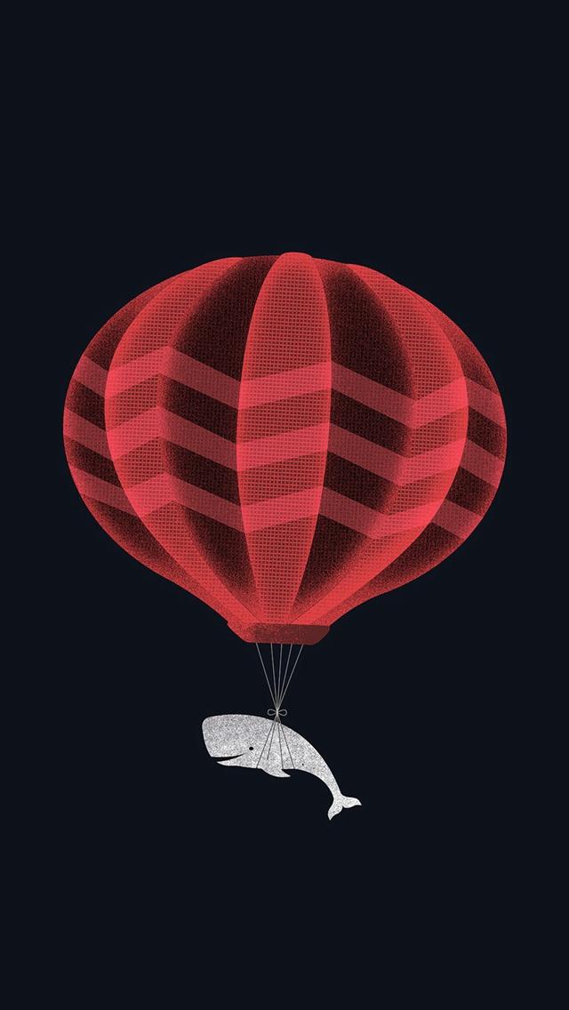 Cute Illustration Whale Balloon Art Dark iPhone wallpaper