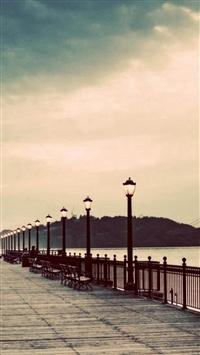 Long Street Pier Skyscape Scenery iPhone 5s wallpaper
