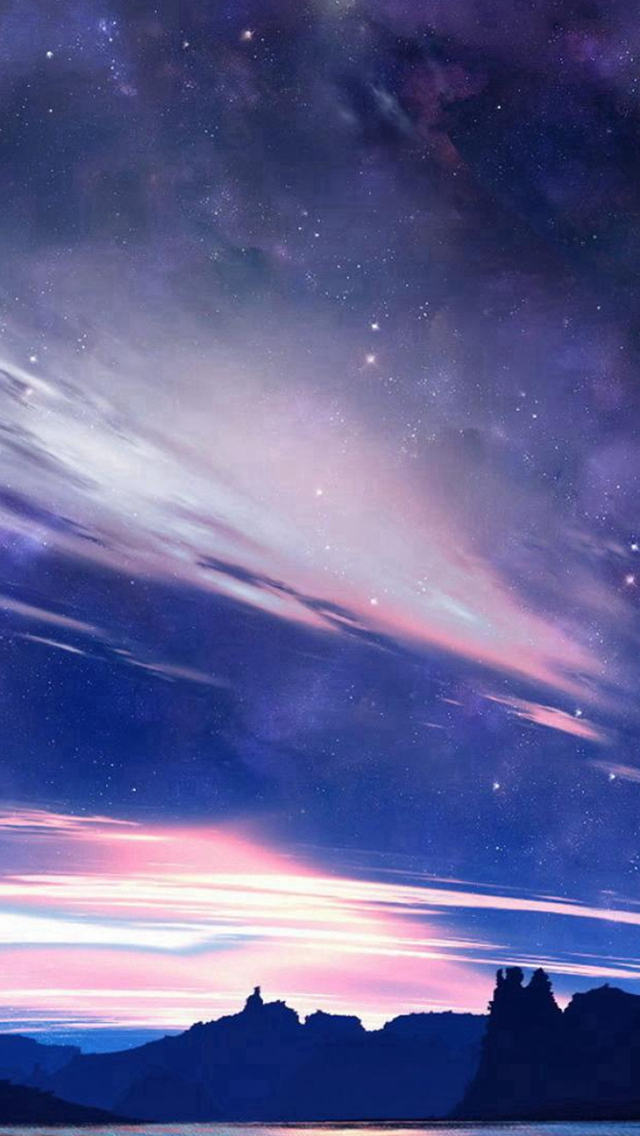 Nature Shiny Cloudy Space View Night iPhone wallpaper