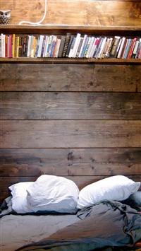 Bed Reading Spot Book Shelf iPhone 5s wallpaper