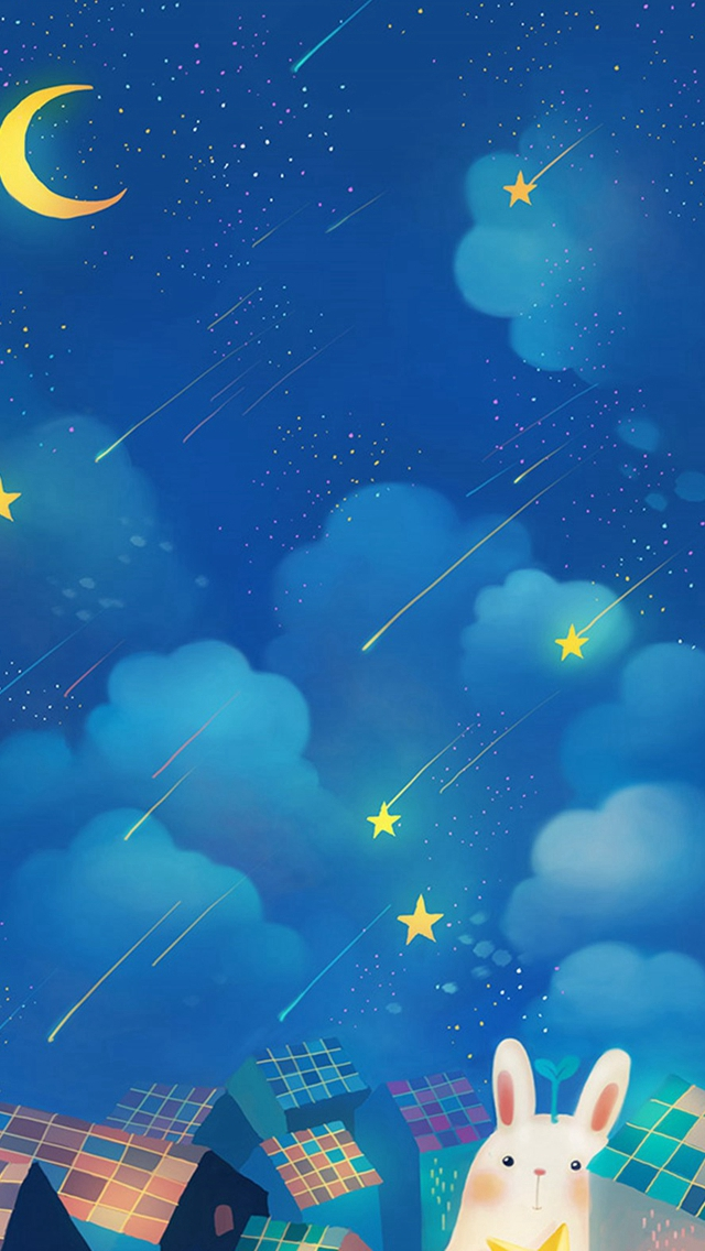Cute Dreamy Rabbit Moon Shooting Starry Night Skyscape iPhone wallpaper