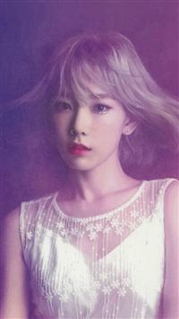 Taeyeon Snsd Kpop Girl Purple Pink iPhone 5s wallpaper