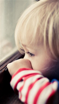 Naive Cute Little Boy Watching Window iPhone 5s wallpaper