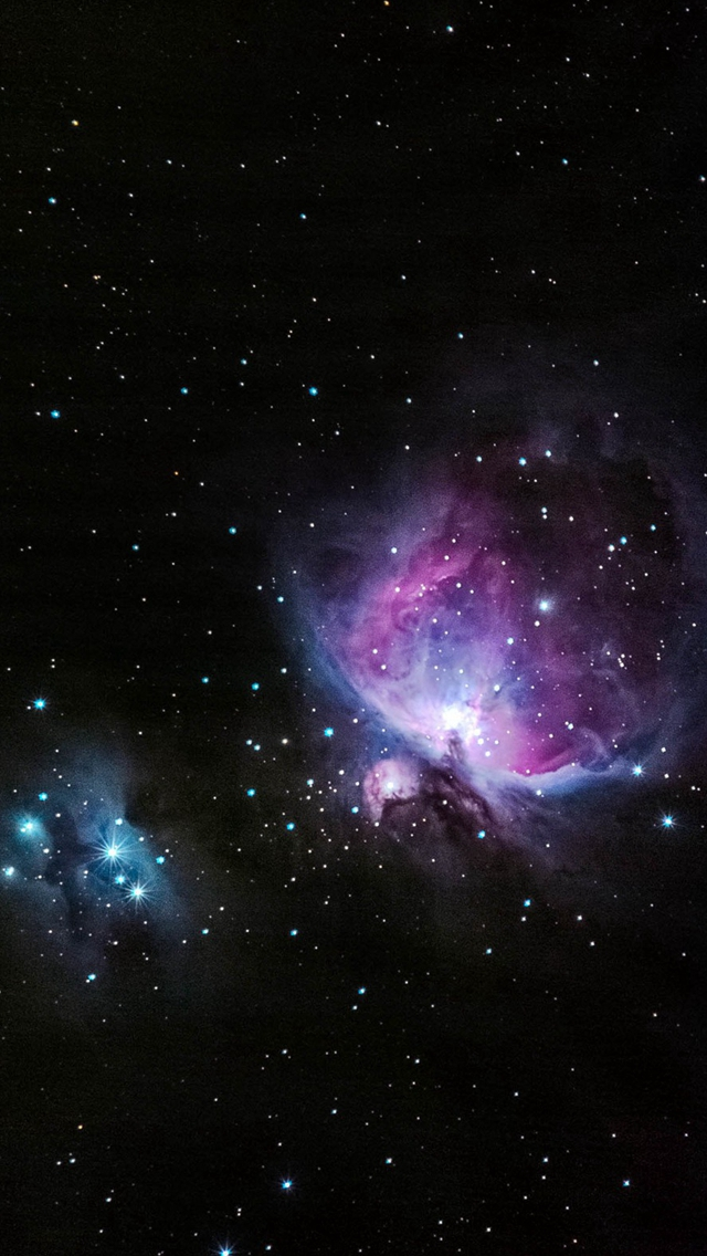 Blue And Pink Nebula Shiny In Outer Space iPhone wallpaper