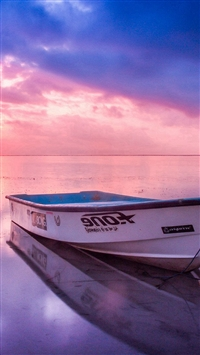 Nature Sea Beach Boat Alone Sunset Blue Pink iPhone 5s wallpaper