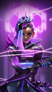 Overwatch Sombra Purple Game Hero Illustration Art iPhone 5s wallpaper