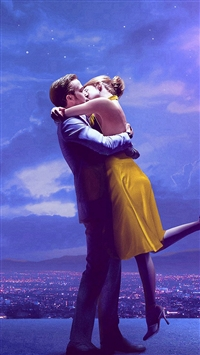 Lalaland Film Movie Purple Blue Poster Illustration Art iPhone 5s wallpaper