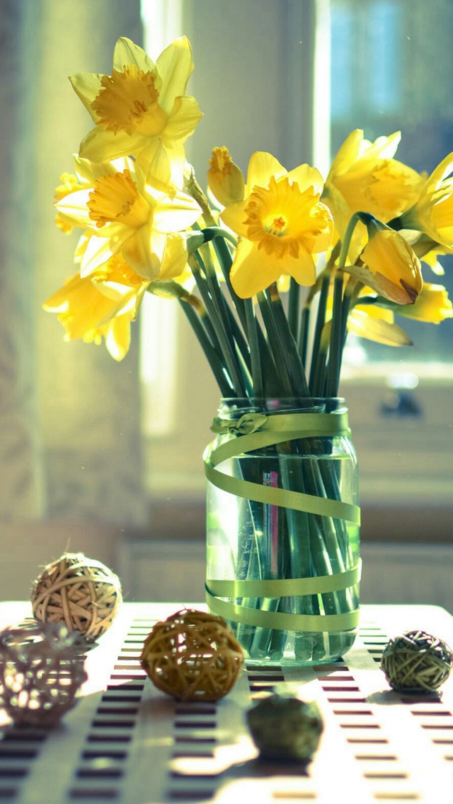 Morning Warm Sunshine Bright Desk Flowers Vase iPhone wallpaper