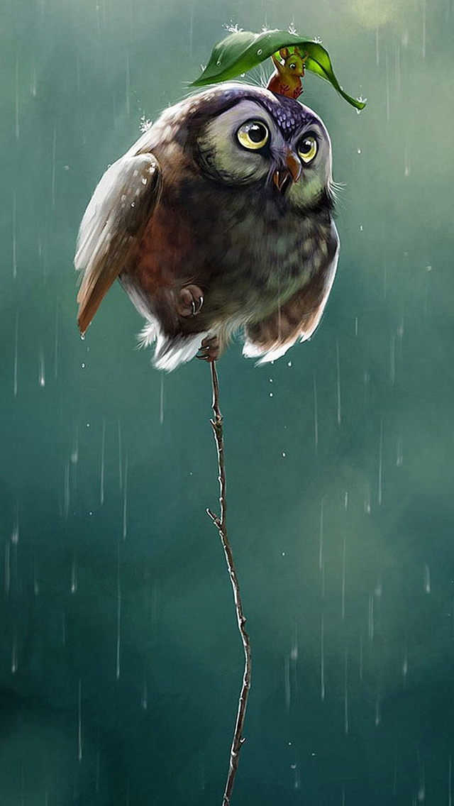 Cute Owl Flying High Rainy Day Covering Leaf Iphone