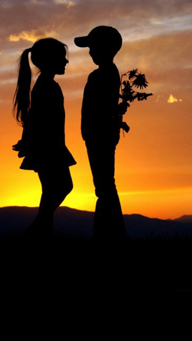 Mountain Top Cute Lovely Kids Silhouette Romantic Scene iPhone wallpaper