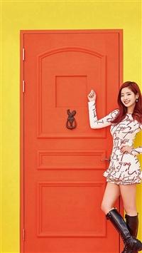 Yellow Girl Kpop Twice Orange iPhone 5s wallpaper