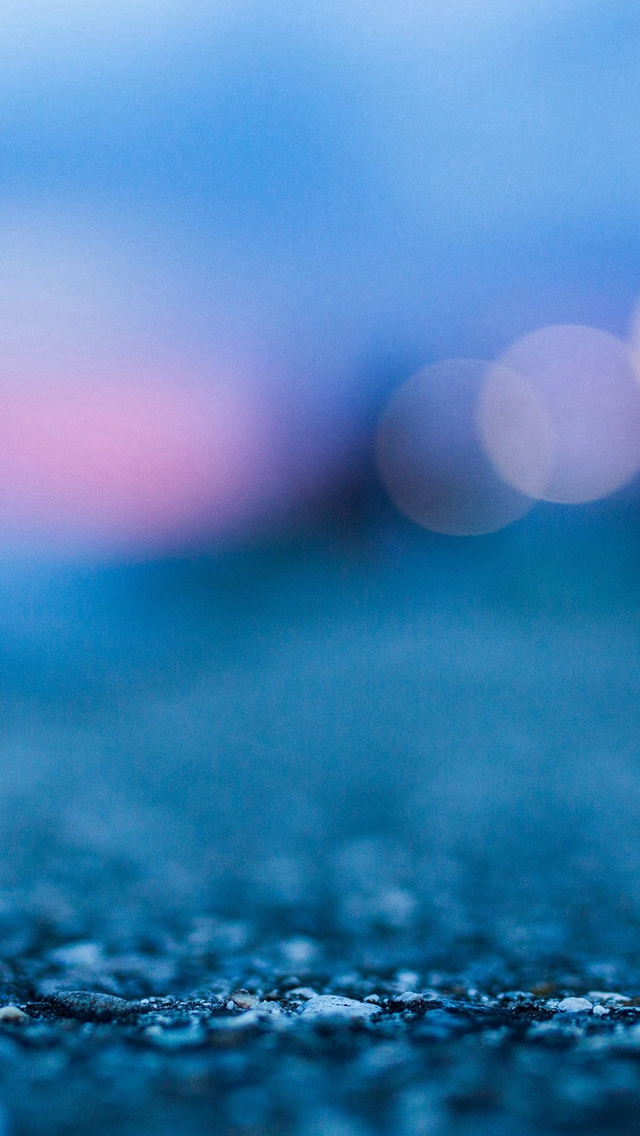 Bokeh Street Blue Night Light Pattern Background iPhone wallpaper