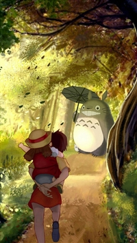 Grove Totoro With Umbrella Waiting Kids Road Anime Cartoon Cute Film iPhone 5s wallpaper