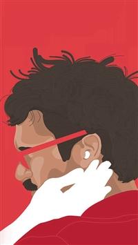Her Film Poster Red Illustration Art iPhone 5s wallpaper