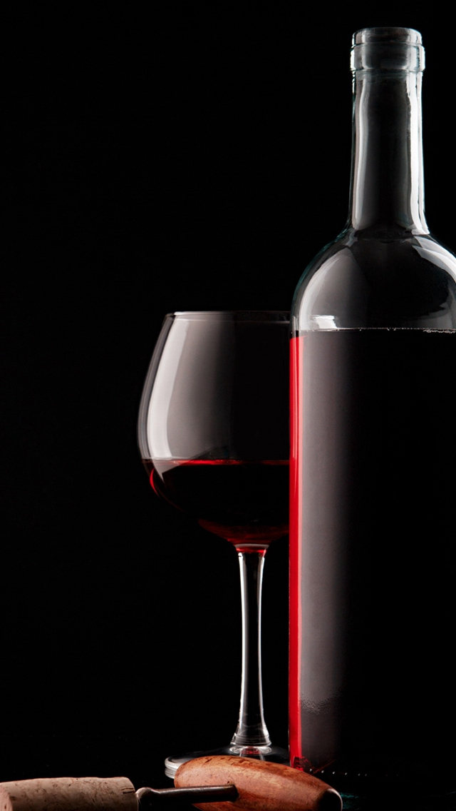 Red Wine Glass Bottle And Corkscrew iPhone wallpaper