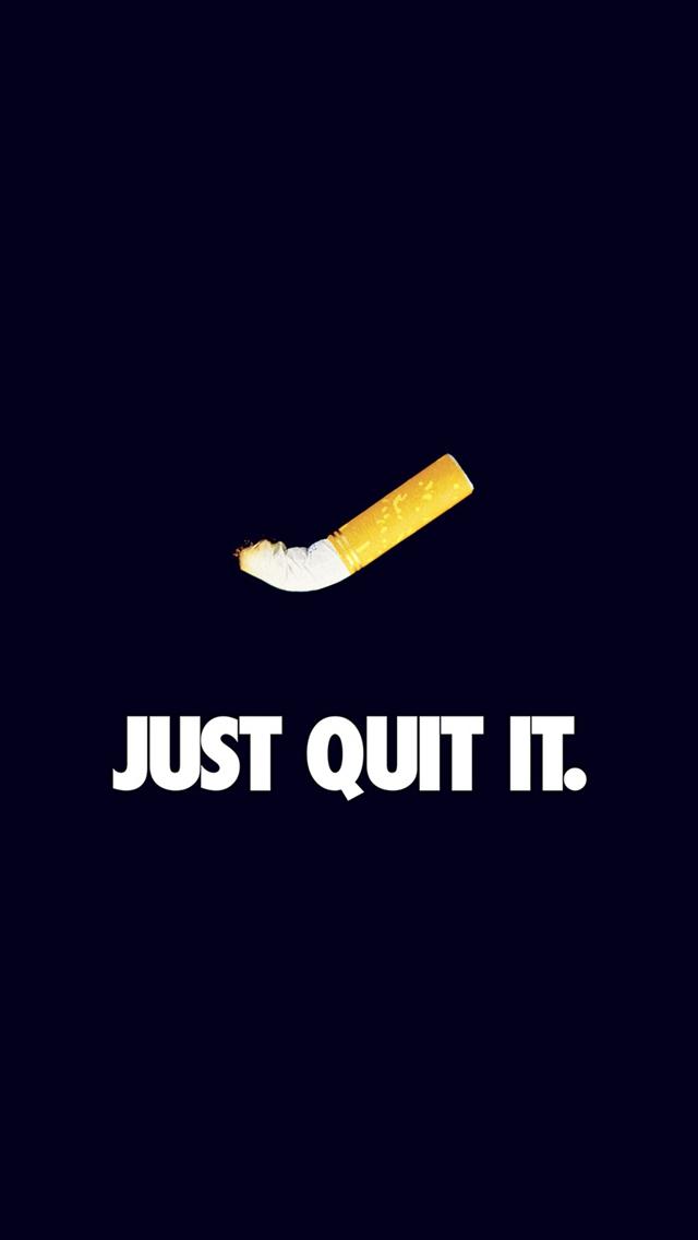 Just Quit It Nike Smoking Art Minimal Dark Blue Iphone Wallpapers Free Download
