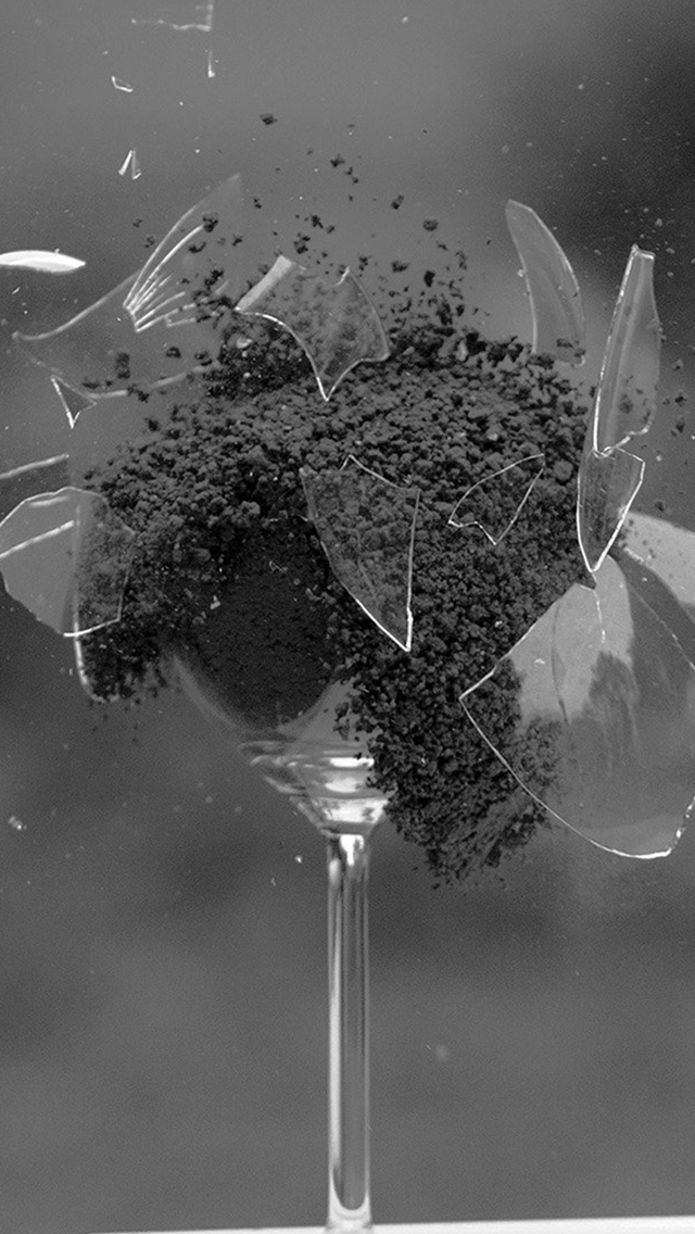 Glass Breaking Nature Art Dark Bw iPhone wallpaper