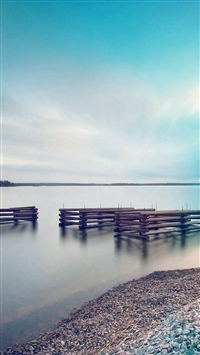 Lake Calm Nature Beautiful Sea Water Blue Flare iPhone 5s wallpaper