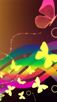 Patterns Waves Butterfly Colorful iPhone 5s wallpaper