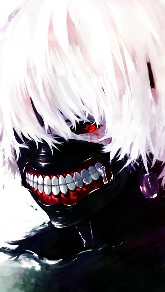 Tokyo Ghoul Kaneki Ken Man Mask Red Eyes White Hair Iphone