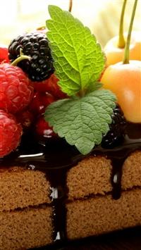 Cake Chocolate Frosting Berries Cherries Raspberries Currants Blackberries Mint Sweet Dessert iPhone 5s wallpaper