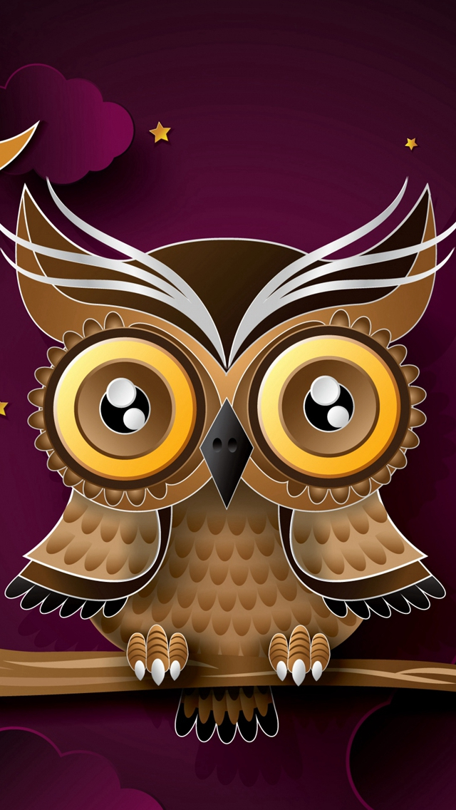 Owl Bird Art Branch iPhone wallpaper
