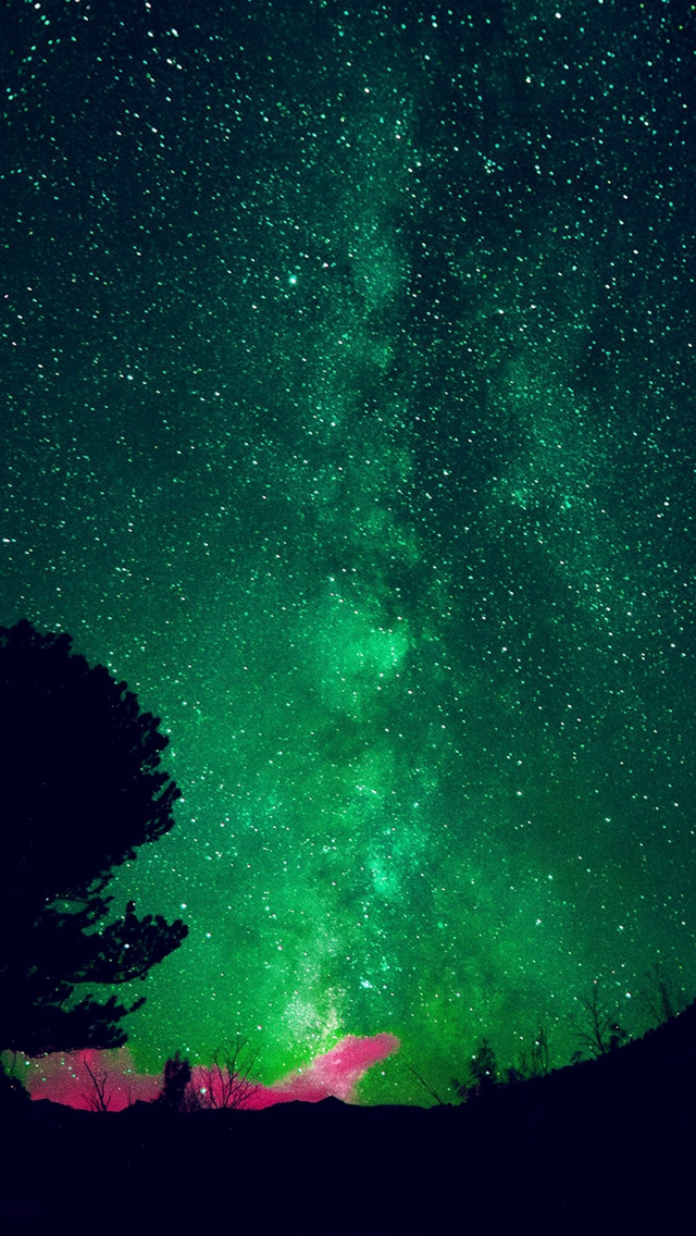 Aurora Night Sky Star Space Nature Green iPhone wallpaper