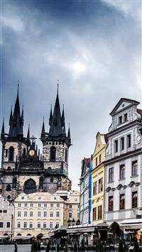 Czech Republic Prague Street Building Evening iPhone 5s wallpaper