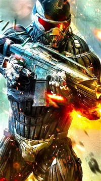 Crysis Fire Boom Bullet Steel Fight iPhone 5s wallpaper