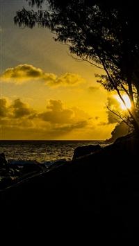 Sunset Dark Mountain Lake Nature iPhone 5s wallpaper