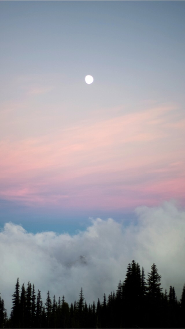 Moon Over Forest Valley Clouds iPhone wallpaper