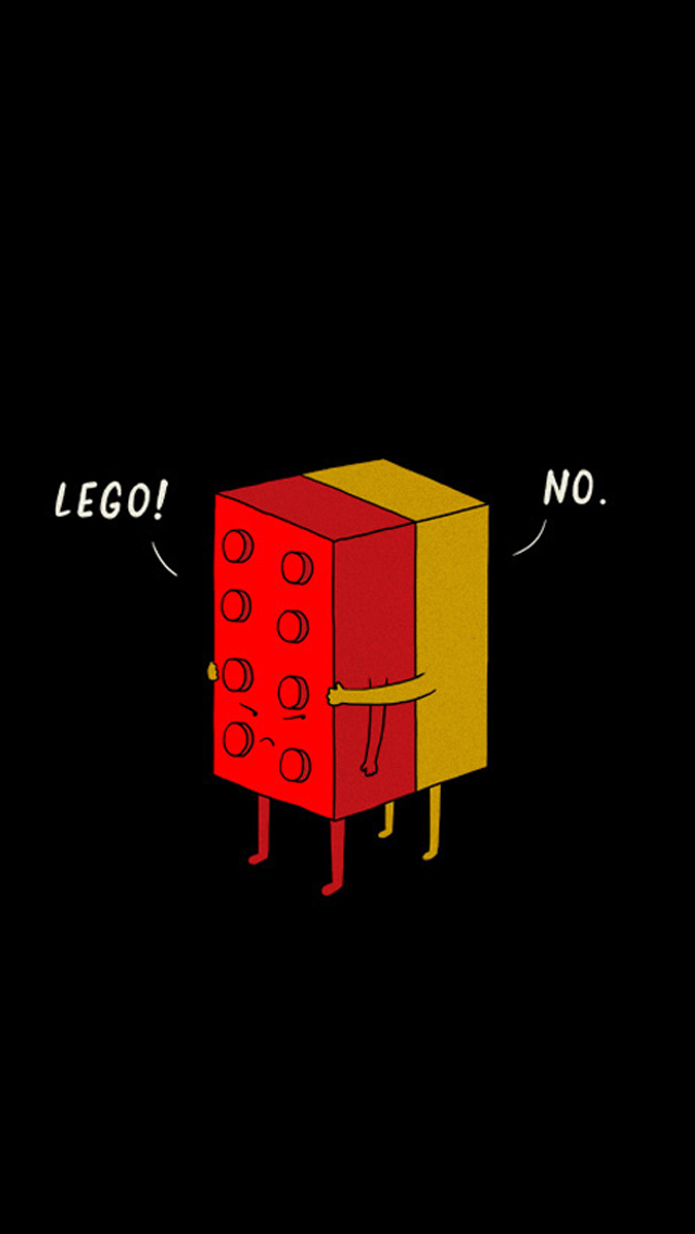 Funny LEGO Pieces Hugging iPhone wallpaper