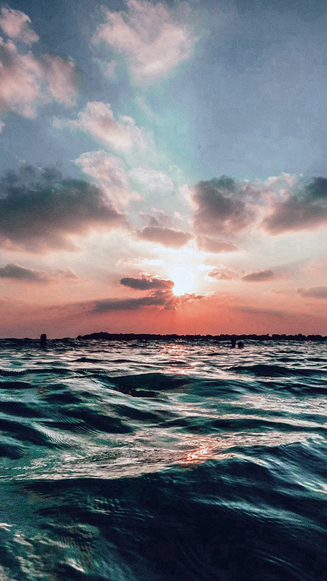 Sunset Sea Sky Ocean Summer Blue Water Nature iPhone wallpaper