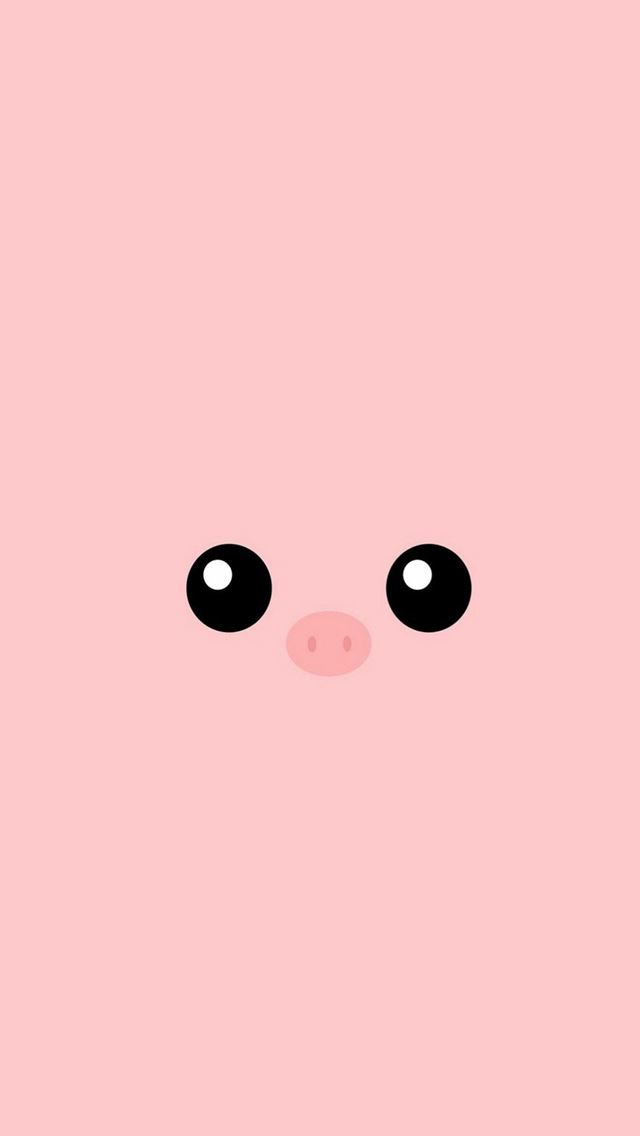 Minimal Pink Piggy Cute Eyes iPhone Wallpapers Free Download
