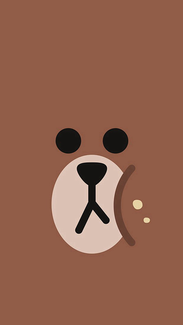 Line Chractor Cute Brown Illustration Art iPhone wallpaper