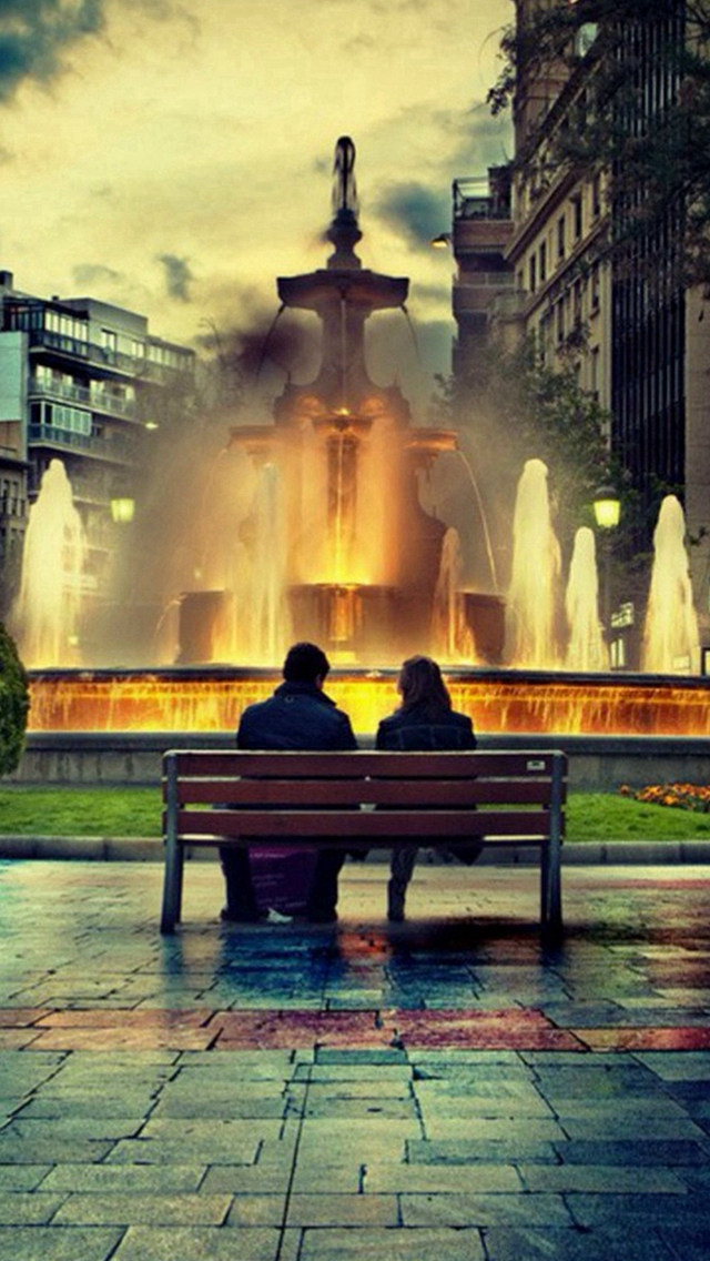 Lovers On Bench Fountain Romantic iPhone wallpaper