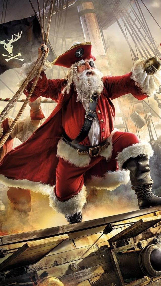 Santa Claus Pirate Ship Gifts Sea Stor Iphone Wallpapers