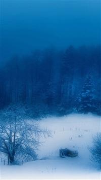 Blue christmas snow mountain iphone wallpaper ilikewallpaper com 200