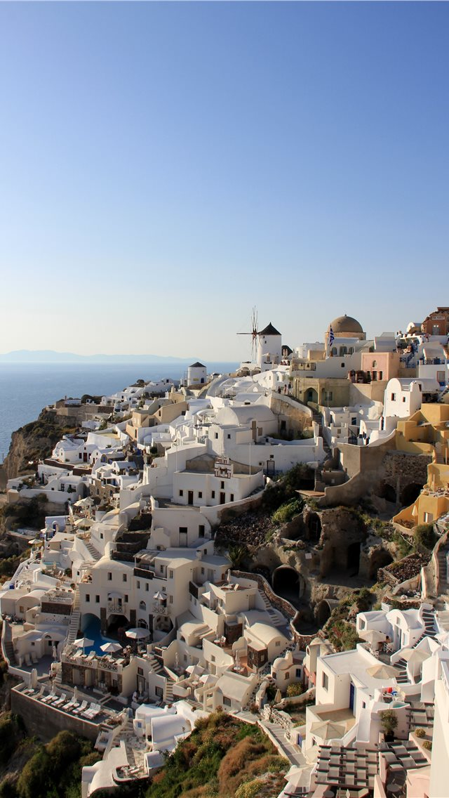 Calm at Santorini iPhone wallpaper