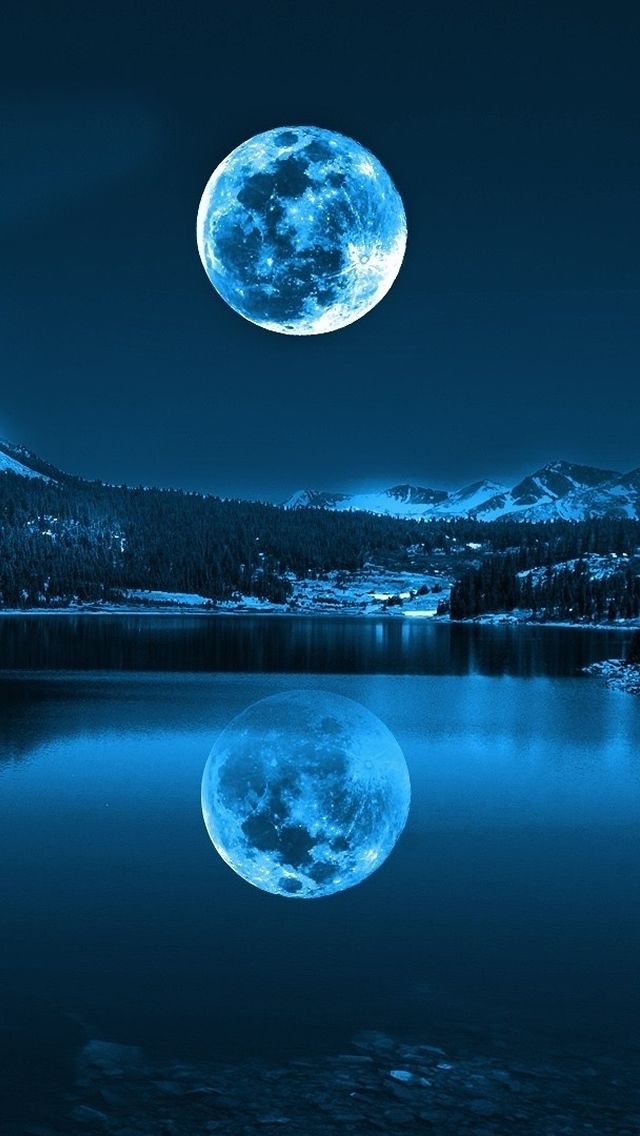 Moon in Cold Lakes iPhone wallpaper