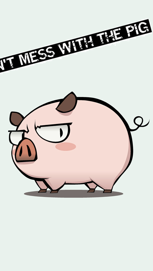 Funny Mess Pig iPhone wallpaper